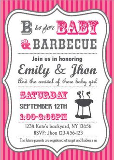 babyq baby shower bbq invitation couples girl etsy