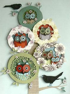 Paper Owl collages by Helen Musselwhite