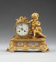 A late 19th Century French ormolu mantel clock Japy Freres & Cie; Retailed by Howell, James & Co. sold with pendulum and winder