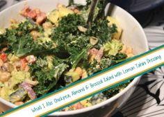 Chickpea, Almond and Broccoli Salad with Lemon Tahini Dressing (Vegan)
