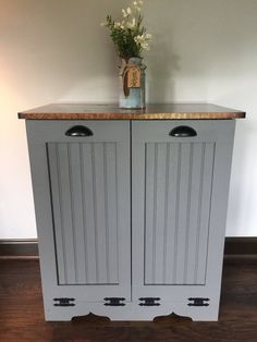 Recycling Facts, Recycling Information, Trash And Recycling Bin, Trash Bins, Trash Can Cabinet, Can Storage, Easy Home Decor, Wood Doors, Diy Furniture