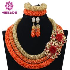 Wholesale Delicate 3 Layers Gold Coral Nigerian Wedding African Beads Jewelry Set Dubai Coral Beads Bridal Christmas Jewelry Set