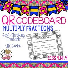 Looking for a fun printable for students to master CCSS 4.NF.4 multiplying fractions by a whole number?This printable features self checking QR codes.  Students complete work on a separate sheet of paper, record their answers, and check them using any QR reader.If you have never used QR codes with your students, this is the perfect way to start.