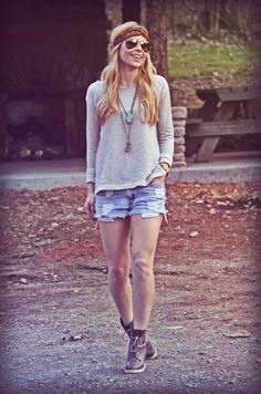 Boots + shorts + sweater + turquoise.