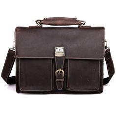 """Vintage Handmade Crazy Horse Leather Briefcase / Messenger / 14"""" 15"""" Laptop 15"""" MacBook Bag * Men's"""
