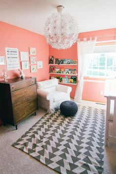 Coral walls for a nursery. Love the rug! My New Room, My Room, Home Decoracion, Nursery Inspiration, Nursery Ideas, Room Ideas, Little Doll, Little Girl Rooms, Girls Bedroom