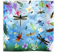 Fun Poster art with 'There Be Dragons' whimsical dragonfly art by Nola Lee Kelsey