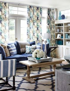 Cottage Style Living Room with Denim Blue Slipcover Sofas ...