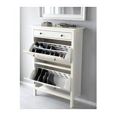 IKEA - HEMNES, Shoe cabinet with 2 compartments, white, , Helps you organize your shoes and saves floor space at the same time.You will have room for plenty of shoes as each compartment has double rows.In the shoe cabinet your shoes get the ventilation and the space they need to keep them like new longer.The cabinet only has legs at the front so it can stand close up to the wall above the skirting-board.