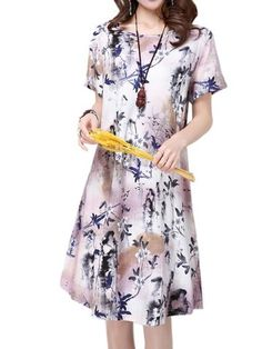 Vintage Women Short Sleeve O Neck Floral Printed Ethnic Dress Shopping Online - NewChic