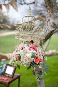 DIY Outdoor & Hanging Decor Ideas DIY Birdcage Hanging Decor, perfect as whimsical vintage. Could be wedding decor. But I would hang on a porch or in my conservatory/ greenhouse. Diy Wedding, Rustic Wedding, Wedding Flowers, Dream Wedding, Wedding Ideas, Garden Wedding, Wedding Coral, Spring Wedding, Wedding Blog