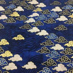Vintage Japanese Cotton Fabric Cloth cloud navy blue by 1/2 yard for Clothing, Dress, Bag Purse, Wal