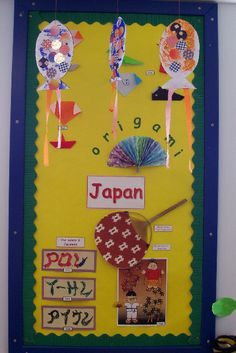 A super Japan classroom display photo contribution. Great ideas for your classroom! School Displays, Classroom Displays, Classroom Crafts, Classroom Themes, Cultural Crafts, Japan Crafts, Class Decoration, Photo Displays, Art Lessons