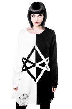 Hexagram Split-Knit Sweater [B]