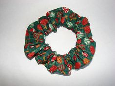 Christmas Candy Green Plaid Fabric Hair Scrunchie by coloradocntry