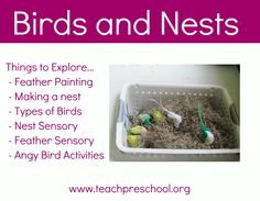 Fun with birds and nests in preschool...