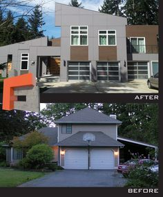 """Ho/Cho project on Cougar Mountain in Bellevue Wa.  Most people that see this """"Before"""" and """"After"""" think the After image is a rendering.  This is actual, and I'm all about creating homes that are dynamic with meaning.  None of my homes that are designed, unless limited by height have flat roofs.  During the build there were items that should have been discussed to be executed properly, but over all the build looks fairly close to the concept to rendering."""