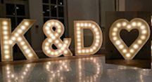Illuminated letter for hire   Weddings, Proms, Parties   North East, Newcastle, Durham, Teesside, Hartlepool, Middlesbrough, North Yorkshire, Northallerton, york