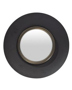 A striking and unusual round black mirror with a wide metal frame. A stylish funky wall mirror for hallways, living rooms, bedrooms and bathrooms