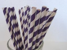 Purple and White Retro Striped Straws Qty25 by ASweetCelebration, $4.00