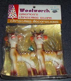 Vintage Woolworth Christmas plastic reindeer.