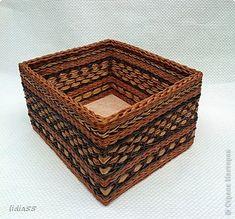 Декор предметов Поделка изделие Плетение Роспись плетенки и точки Краска Трубочки бумажные фото 1