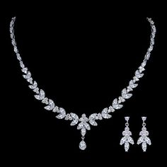 Elegant Diamond AAA Zircon Bridal Necklace Set, Clear Rhinestone Neckalce, Pendent Silver Earring, Bridesmaid Jewelry-1