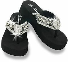 Jeweled Flip Flops for Women | Women's Rhinestone Cross Wedge Flip Flops Like Montana West Yellowbox ...