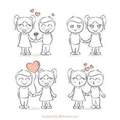 dibujos de parejas abrazandose para dibujar - Buscar con Google Couple Drawings, Easy Drawings, Love Doodles, Cover Design, Stick Figures, Stone Painting, Doodle Art, Illustration, How To Draw Hands