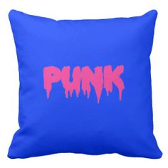 """Customizable """"PUNK"""" Pink Drip Font Pillow - Revised"""