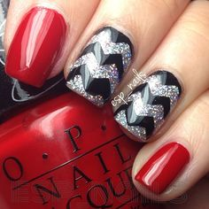 """Instagram media by polishedbyesp - I'm a little """"Drunk on Holo"""" --- Lexi (@paintedpolishbylexi) has outdone herself with this gorgeous holo polish (middle and ring finger) two coats to opaque perfection  The red is my new all time favorite """"Over and over a Gwen"""" from @opi_products  Chevrons done with the help of #nailvinyls from @teismom"""