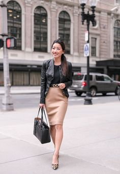 Edgy but elegant fall outfit with a black leather jacket (faux) + tan pencil skirt