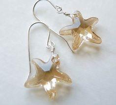 Dangle earrings swarovski golden shadow star in by PingyPieJewelry, $30.00