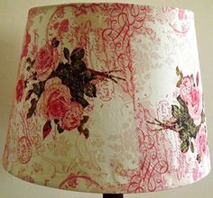 old script,postmarks. floral light shade Pink Rose Script Lampshade