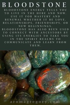 Bloodstone: element water earth fire depending on predominant color Crystal Guide, Crystal Magic, Crystal Healing Stones, Stones And Crystals, Gem Stones, Minerals And Gemstones, Crystals Minerals, Chakra Healing, Chakra Cleanse