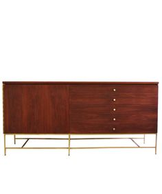 via BKLYN contessa :: from high street market :: 1960s paul mccobb credenza :: design back bar bottom cabinets similarly with a brass chippendale styled leg + simple mcm brass hardware + grain rich wood - oiled & waxed :: collaborate with hf