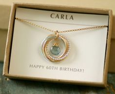 60th Birthday Gift For Women Aquamarine Necklace Mom Her March Birthstone Jewelry Mother