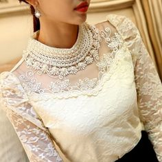 Blouses For Women, Pants For Women, Ladies Blouses, Vetement Fashion, Shirt Blouses, Shirts, Lookbook, Long Sleeve Bodysuit, Lace Sleeves