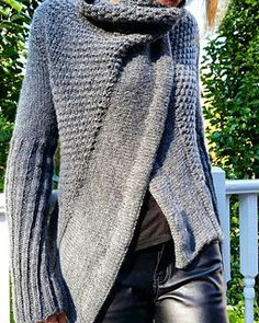 FREE ARAN Madge is a top down knit. Part wrap, part sweater with a big collar and overlapping sides. The snap placement at collar can give it an asymmetrical look-or not.