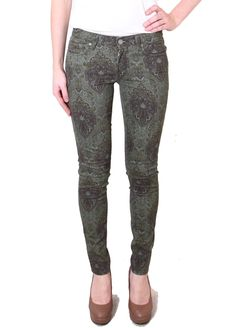 """Paige+Denim+Verdugo+Ultra+Skinny+Mid+Rise+Jeans+in+Paisley+-+A+mid+rise,+super+stretch+ultra+skinny+that+hugs+the+leg+down+to+the+leg+opening. All+over+green+paisley+pattern  Rise:+8+1/8"""" Inseam:+30"""" Leg+Opening:+10+1/4""""  Model+wears+UK+Size+26"""