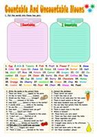 A test on food with  five tasks: 1) countable/uncountable nouns, 2) food vocabulary, 3) a/an/some/any, 4) odd word out, 5) restaurant conversation. Key included. Hope it´s useful for you mada :) - ESL worksheets
