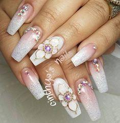 Classy Nails, Fancy Nails, Stylish Nails, 3d Acrylic Nails, Glitter Nail Art, Pastel Nails, Bling Wedding Nails, Bling Nails, Long Nail Designs