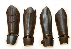 Orc greaves. LARP armor.  1.5 mm blued steel and leather.