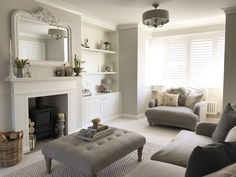 home living room decor Living Room Grey, Living Room Sets, Home Living Room, Living Room Designs, Living Spaces, Living Room Decor Uk, Alcove Ideas Living Room, Sitting Room Decor, Victorian Living Room