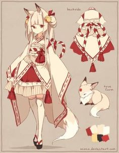 Kitsune Fox Japanese Female costume design with fantasy elven influences. Owner: jeweledphoenix Only myself and the owner (purchaser) have the right to display the design. You may not use this costume for your characte. Anime Chibi, Kawaii Anime, Yandere Manga, Anime Style, Anime Art Girl, Manga Art, Character Concept, Character Art, Character Outfits
