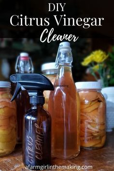 Learn how to make your own DIY Natural Citrus infused vinegar cleaner for your home. Forget using harsh chemicals and make your own from orange peels! #nokitchenwaste #diycleaners