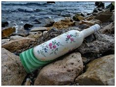 Recicled bottle - May afternoon Decoupage, glass, british style, home decoration