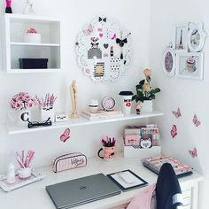 Home office pink desk organization 58 ideas for 2019 Girl Bedroom Designs, Girls Bedroom, Bedroom Decor, Cozy Bedroom, Bedroom Ideas, Bedrooms, Home Office Design, Home Office Decor, Home Decor