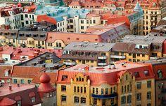 Os telhados pastel de Gotemburgo, Suécia.
