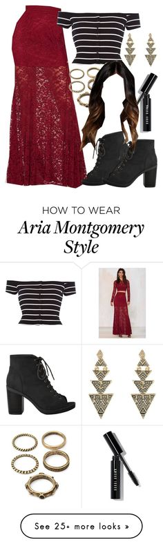 """""""Aria Montgomery inspired outfit with a maxi skirt"""" by liarsstyle on Polyvore featuring moda, River Island, Forever 21, Bobbi Brown Cosmetics, House of Harlow 1960, NightOut, party, date, mid i ss"""